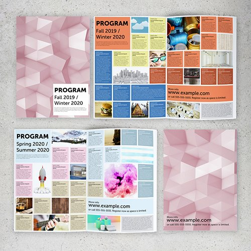 Program Brochure Layout with Colorful Grid 289155734 INDT