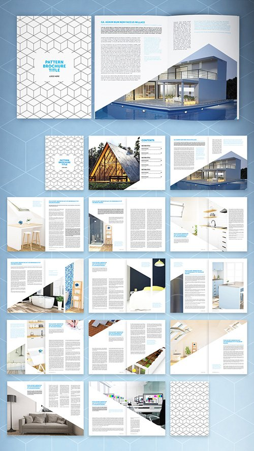 Brochure Layout with Geometric Pattern and Blue Accents 290376658 INDT