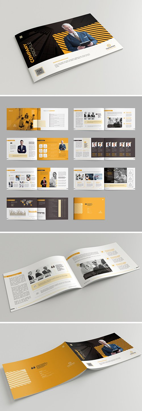 Company Profile Brochure Layout with Orange Accents 290594664 INDT