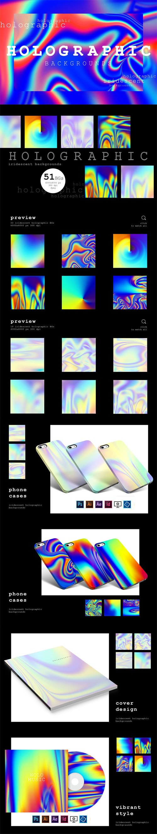 CM - 51 Holographic & Bright Iridescent Backgrounds