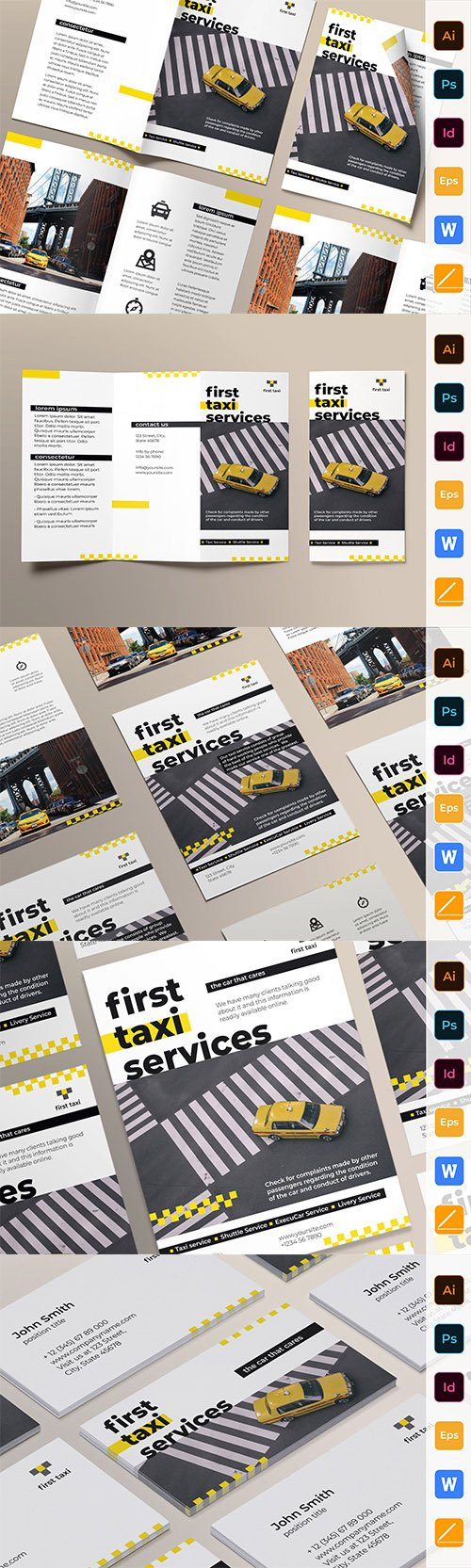 Taxi Services Brochure Bifold, Flyer, Business Card, Brochure Trifold and Poster Set