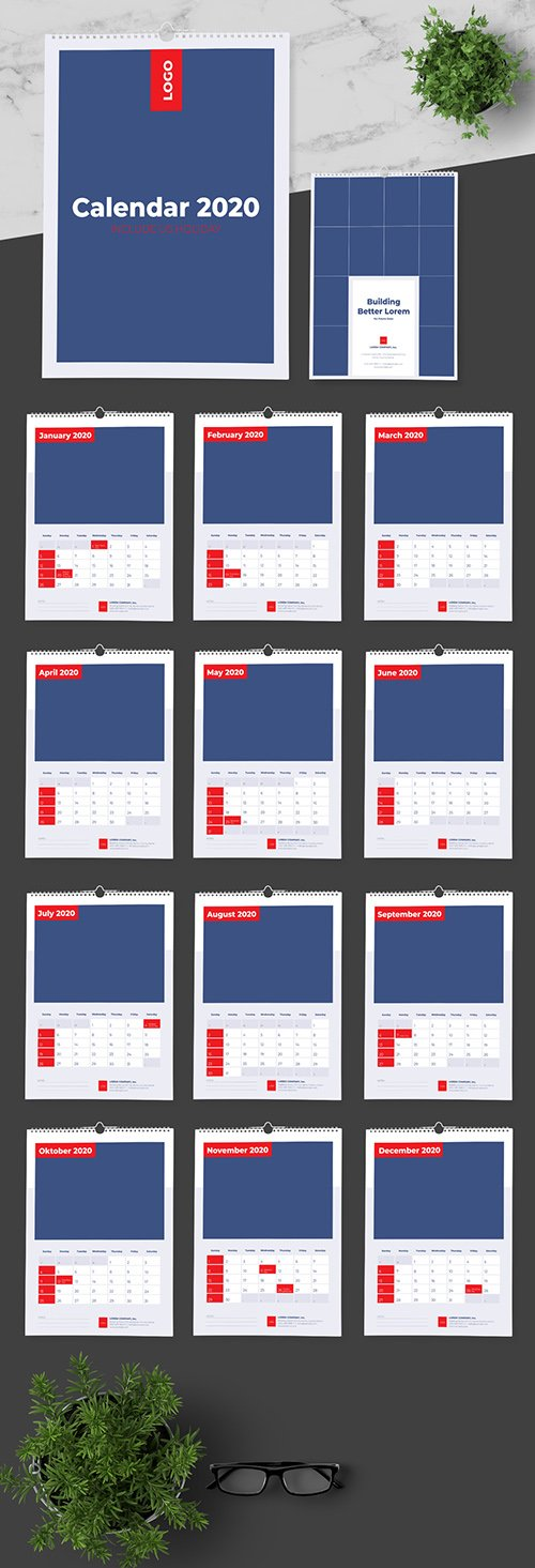 Calendar include US Holiday with Blue and Red Accents 292369933 INDT