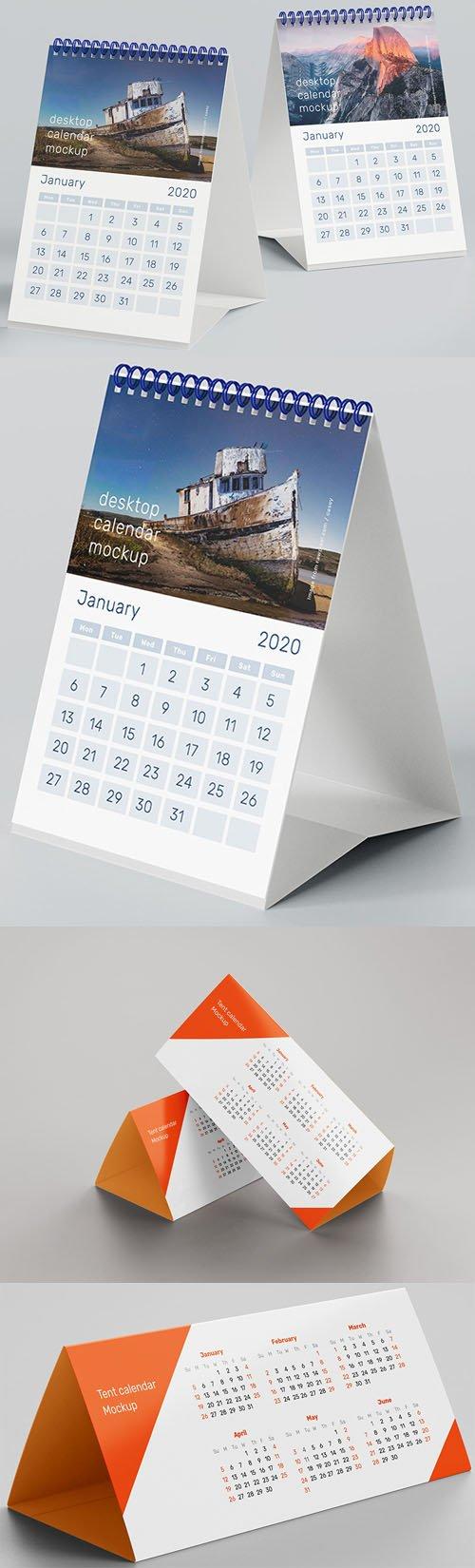 A5 Desk & Tent 2020 Calendar PSD Mockups Templates
