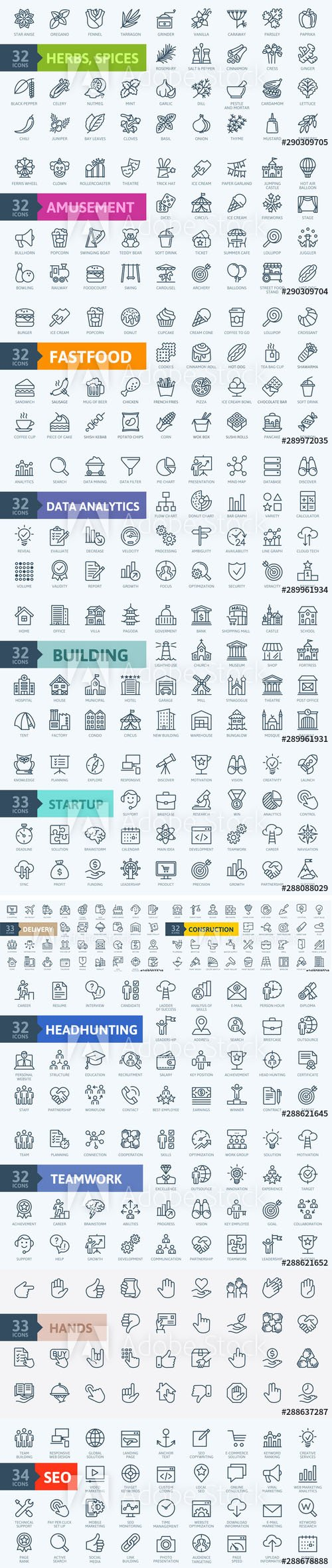Outline web icons - Thin line web icon collection
