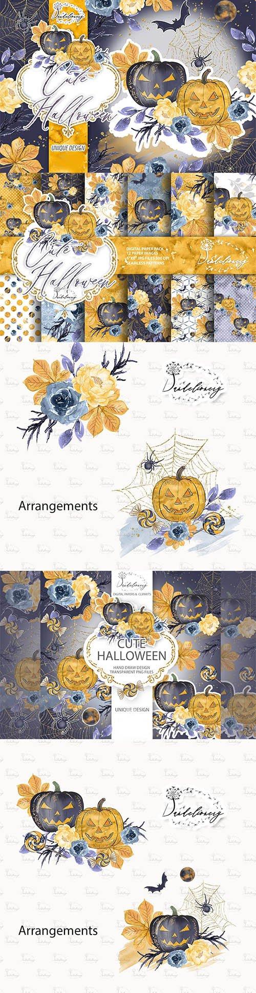 Cute Halloween design and digital paper