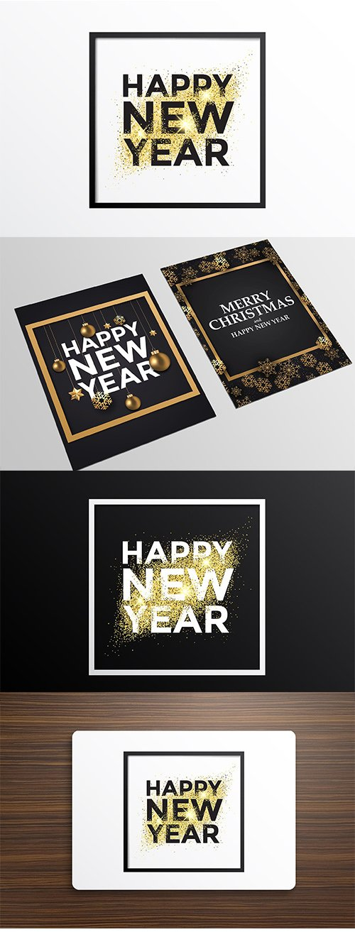 Holiday New Year card with golden ornaments and Glitter