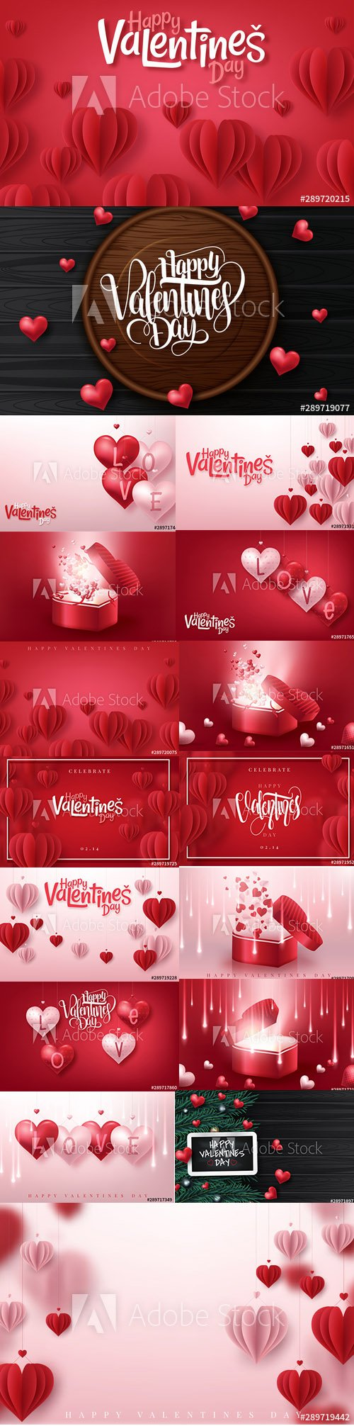 Colorful Happy Valentines Day Illustration with 3D hearts 3
