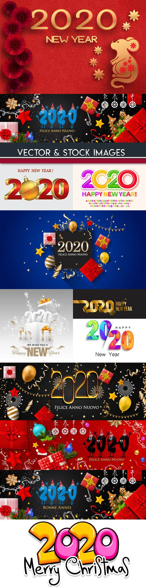 New Year and Christmas decorative 2020 symbol illustration