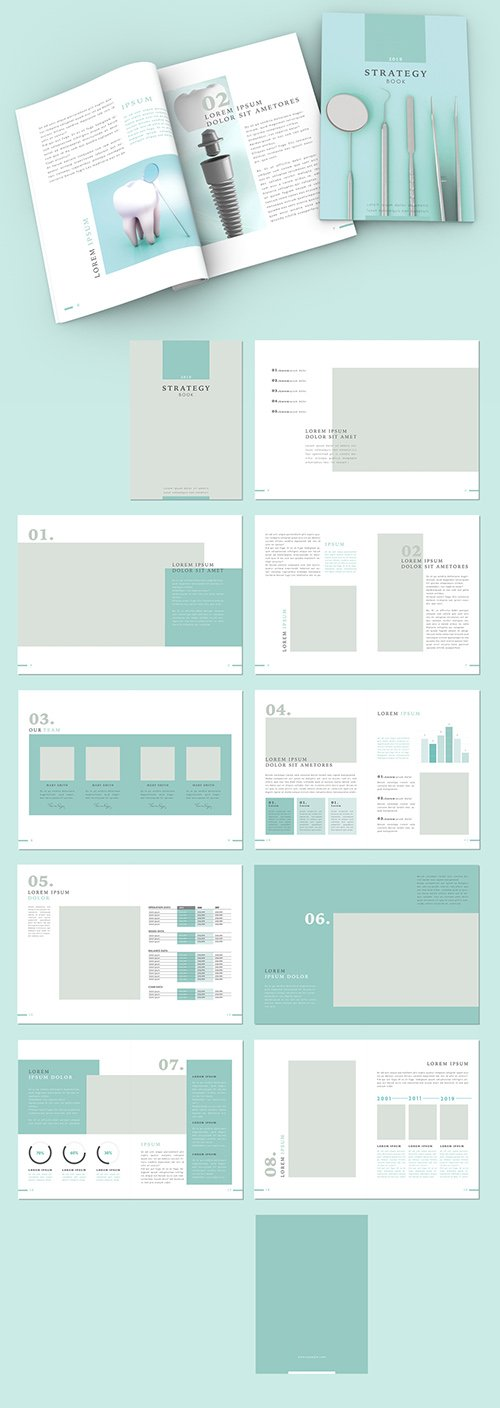 Teal and White Brochure Layout 292994648 INDT