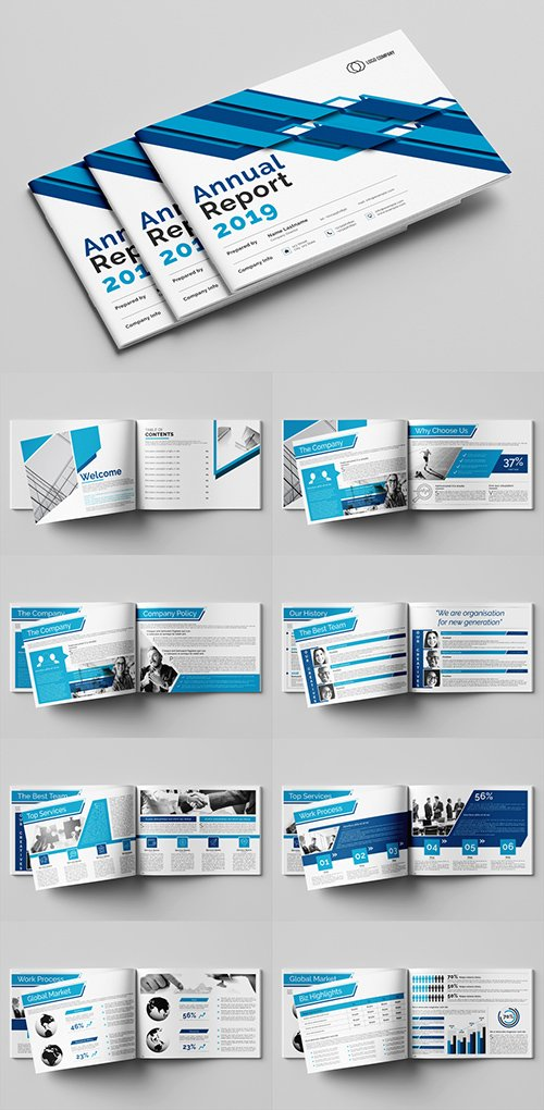 Annual Report Layout with Blue Accents 293224276 INDT
