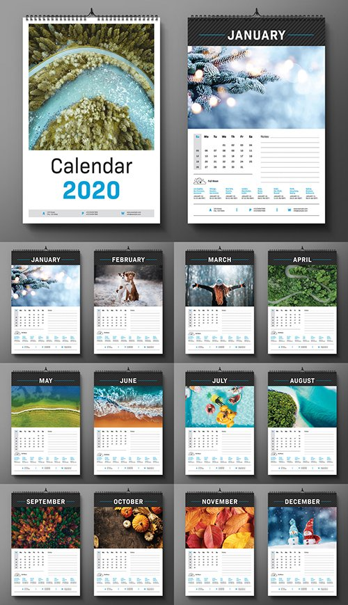 2020 Wall Calendar Layout 293224274 INDT