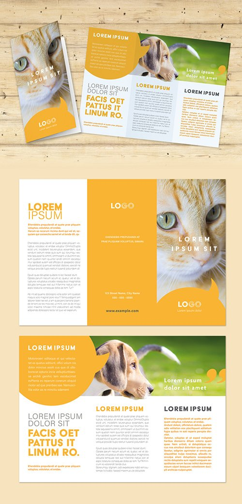 Trifold Brochure Layout with Yellow Speech Bubble Elements 292994521 INDT