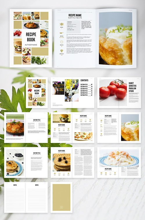 Recipe Book Layout with Tan Accents 292955867 INDT