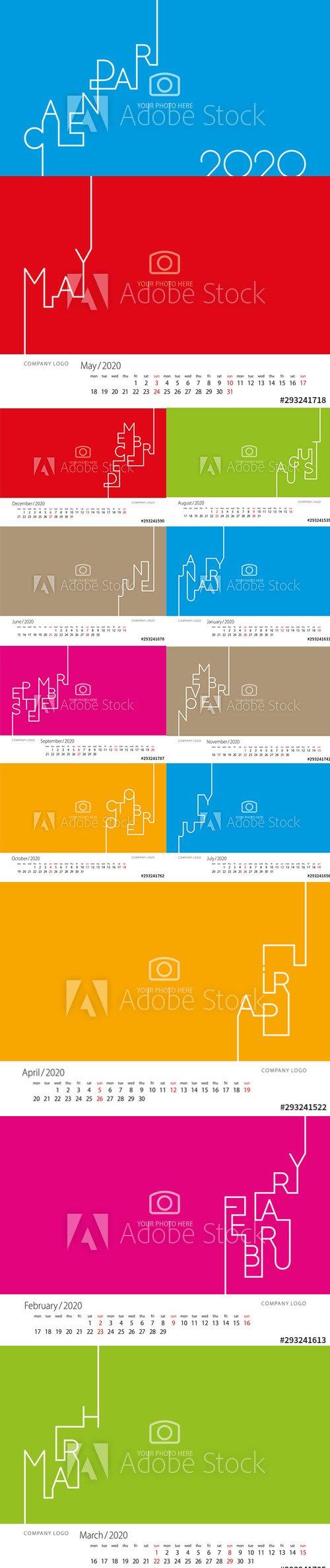 Modern Line Calendar 2020 New Year
