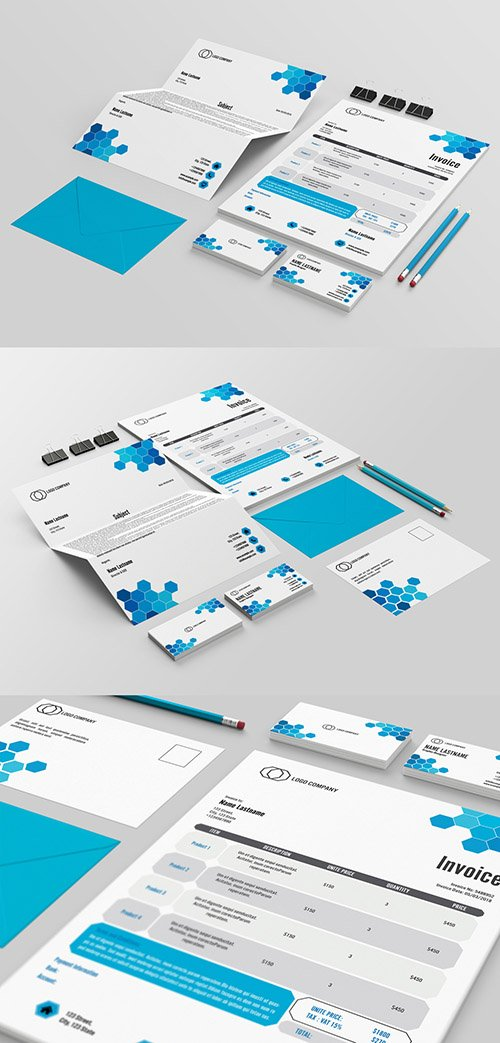Stationery Layout Set with Hexagonal Design 207333342 INDT