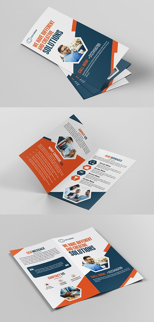 Brochure Layout with Orange and Blue Accents 200450126 INDT