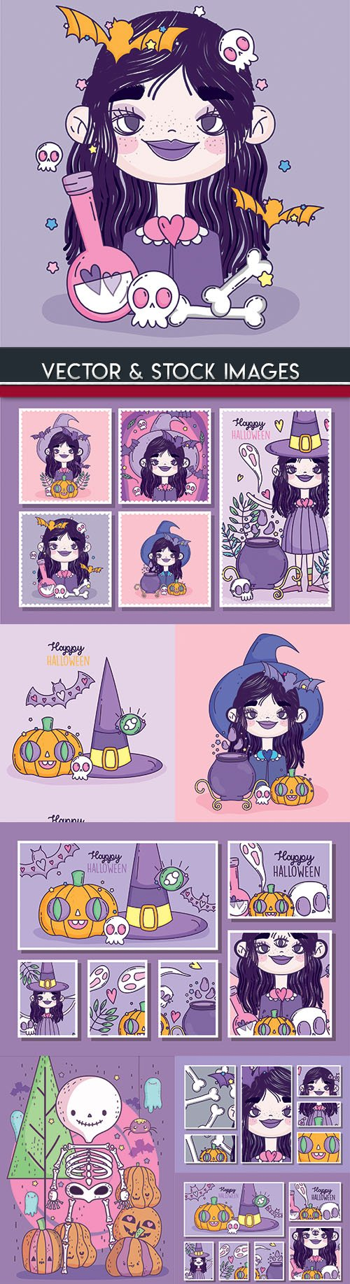 Happy Halloween holiday illustration collection 31