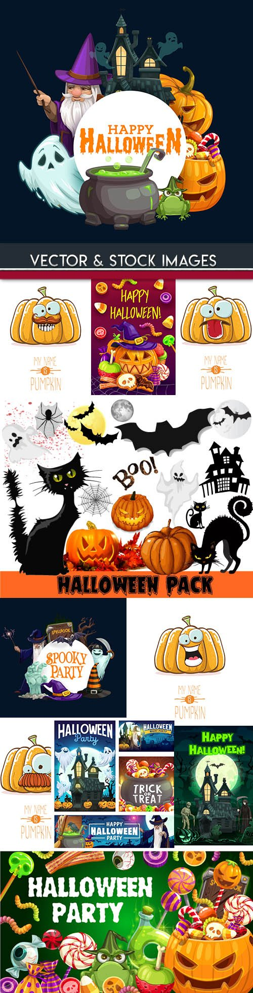 Happy Halloween holiday illustration collection 32
