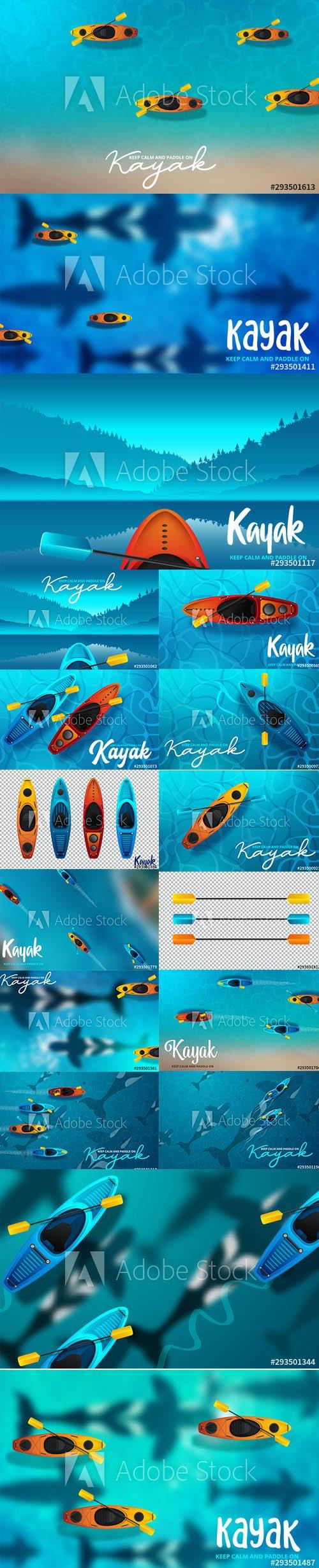 Kayaking Water Sport Illustrations