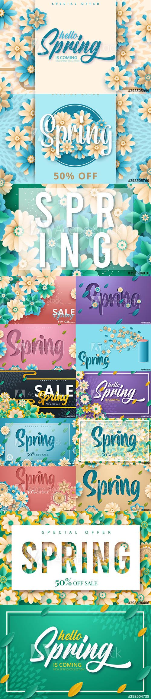 Spring Sale Backgrounds with Flowers vol3