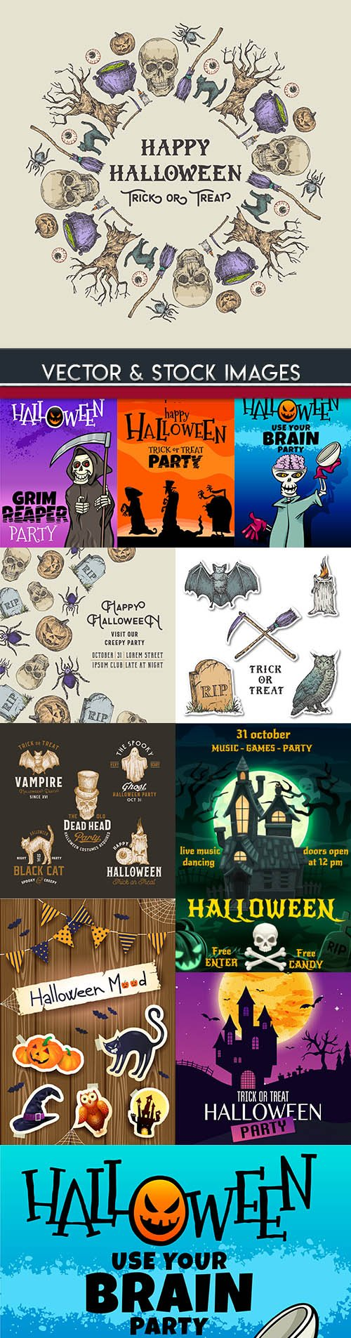 Happy Halloween holiday illustration collection 33