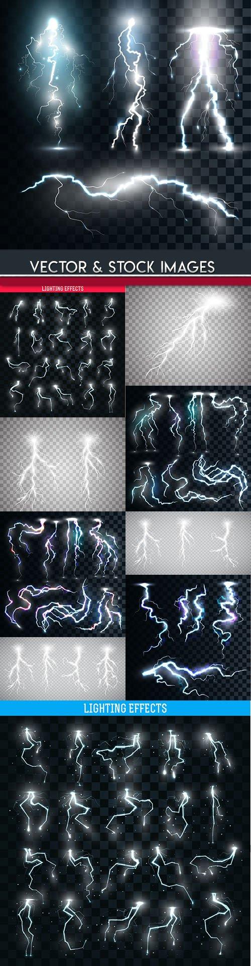 Lightning natural and light effects design illustration