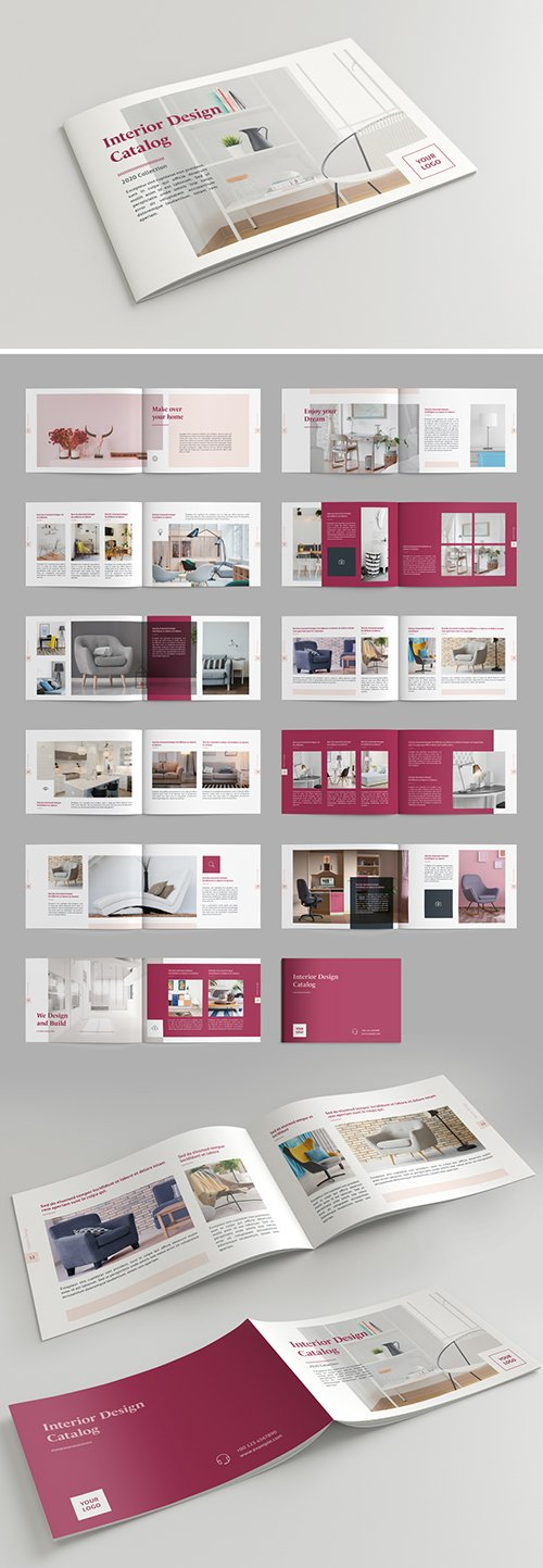 Brochure Layout with Dark Pink Accents 293432379 INDT