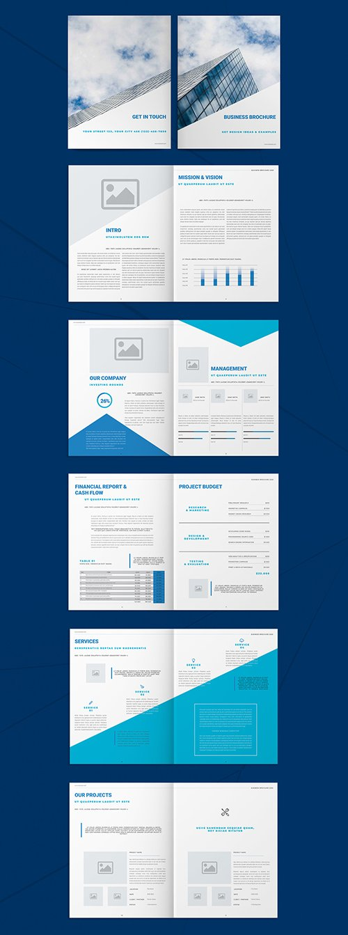 Business Brochure Layout with Blue Accents 293455292 INDT