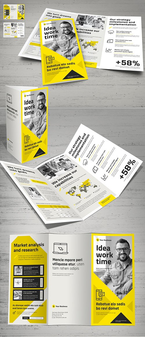 Yellow and White Trifold Brochure Layout 248943927 INDT