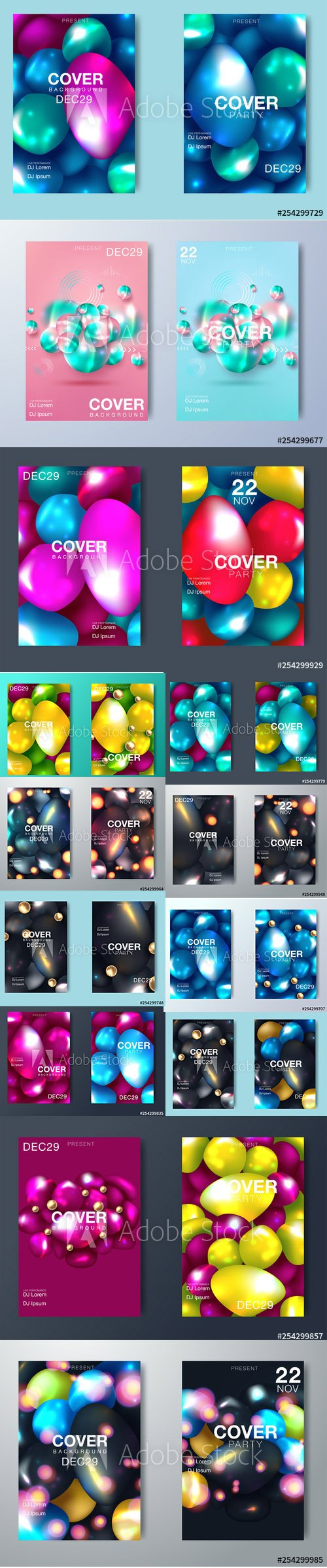 Modern Abstract Party Posters and Gradient Backgrounds