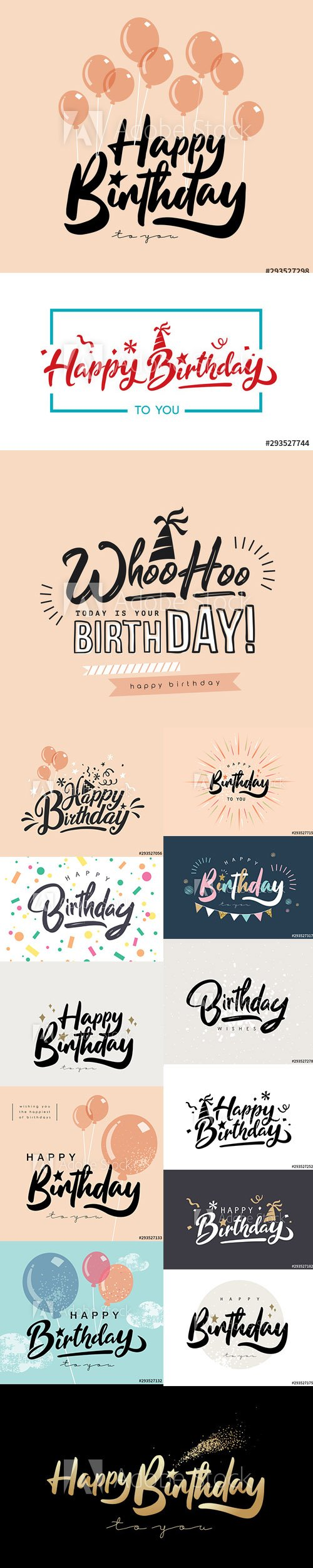 Happy Birthday Design for Greeting Cards and Poster