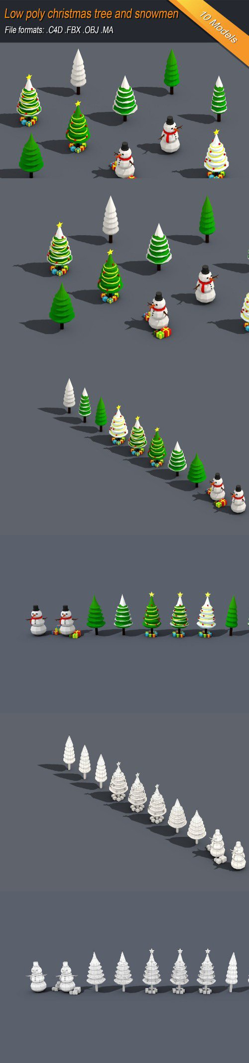Low Poly Christmas Tree And Snowmen Gift Isometric Low-poly 3D model
