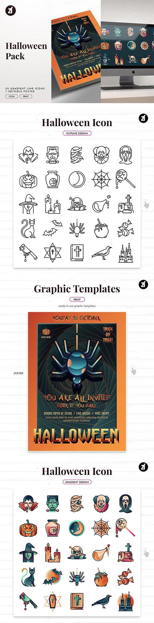 Halloween icon pack with bonus graphic templates 2