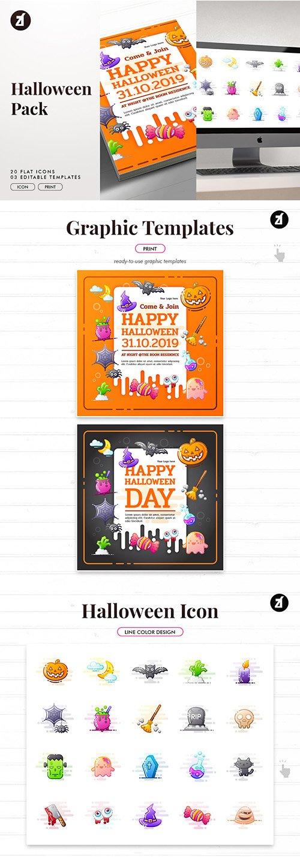 Halloween icon pack with bonus graphic templates