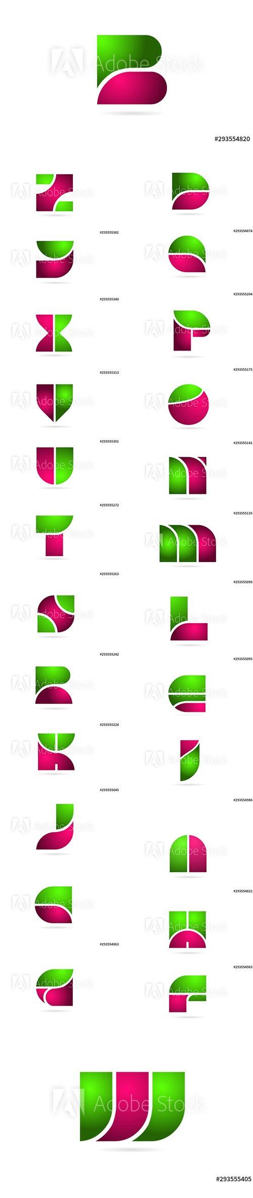 Set of Pink Green Color Letters Logo Alphabet