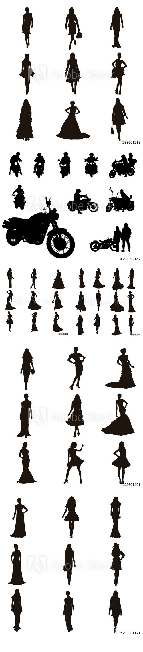 Fashion Model Silhouettes and Motor Bike Background