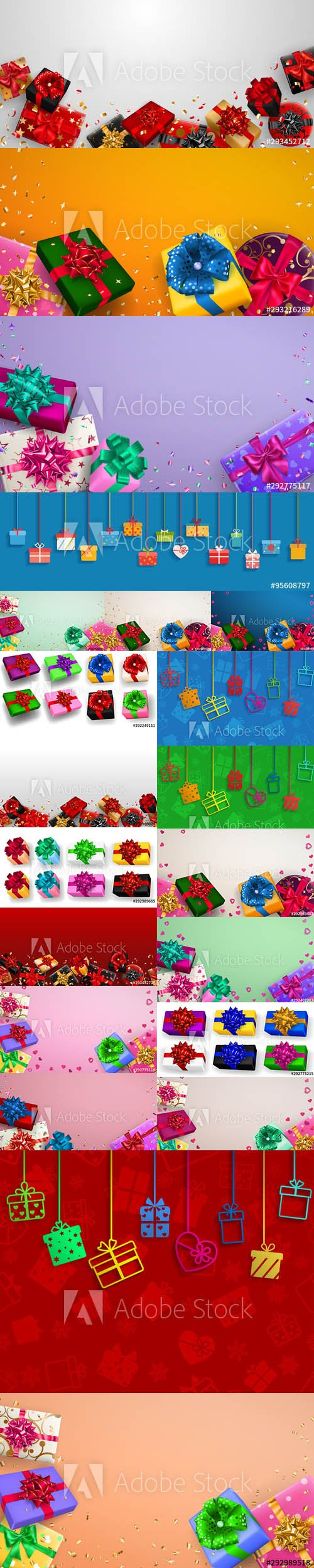 Multicolored Gift Boxes with Ribbons Illustrations