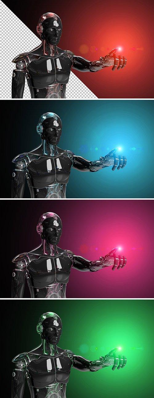 Isolated Black Robot Mockup Pointing Finger 282519225 PSDT