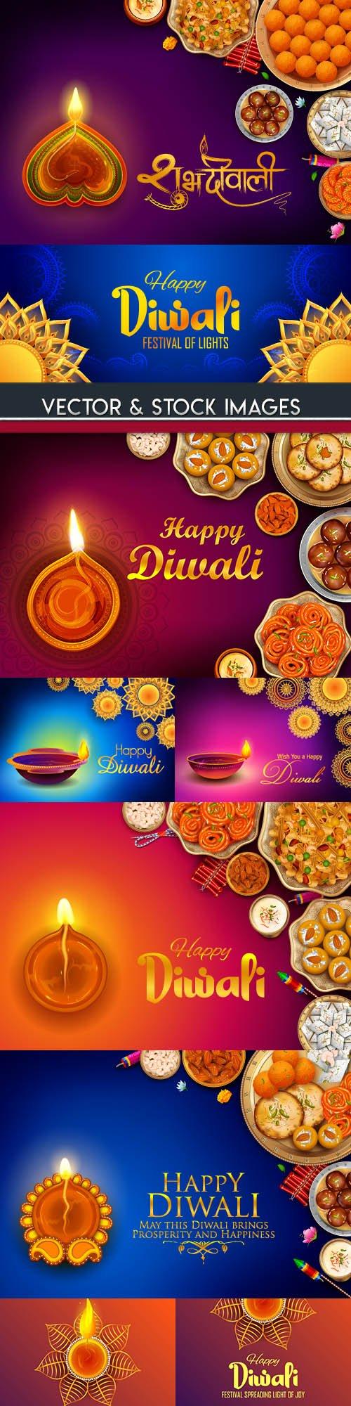 Diwali Indian traditional culture decoration illustration 5