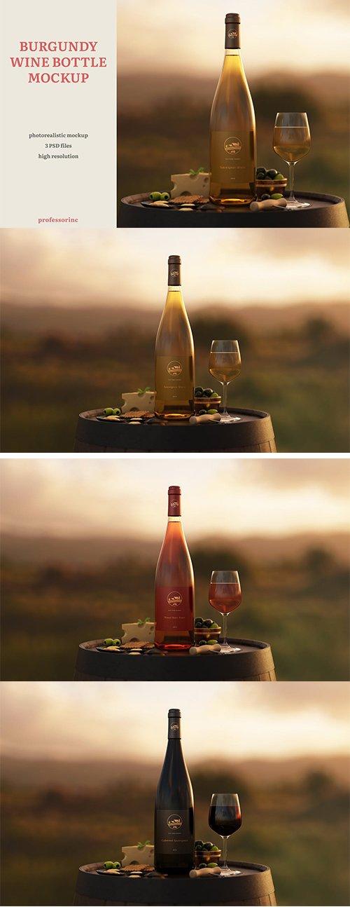 Burgundy Wine Bottle Mockup