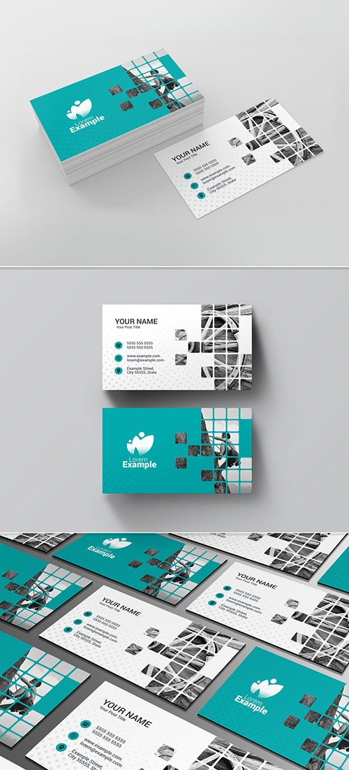 Teal Business Card Layout wih Patterned Photo Placeholder 221205313 INDT