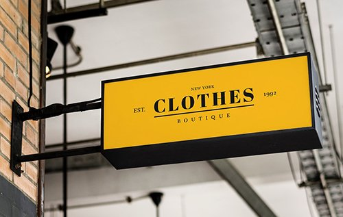 Hanging rectangle yellow shop sign mockup 844150