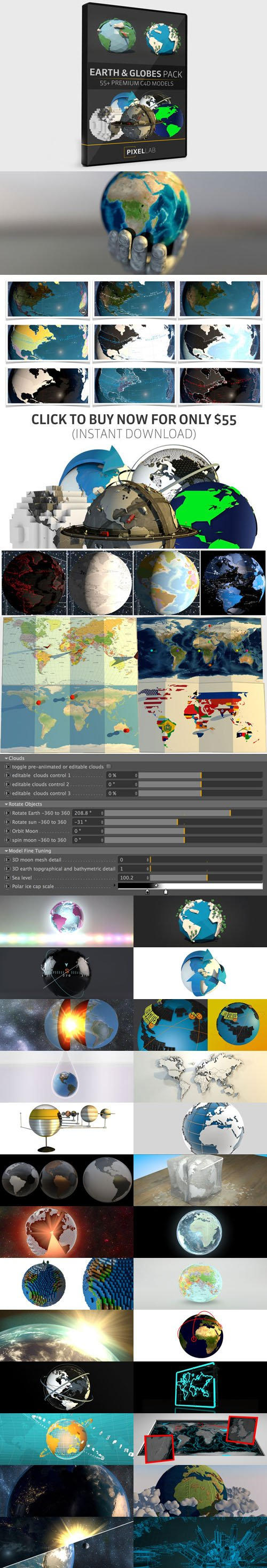 The Pixel Lab - 55 Earth and Globe C4D Models Pack