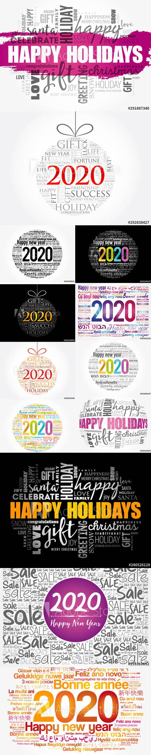Happy New Year 2020 and Christmas ball word cloud Illustrations