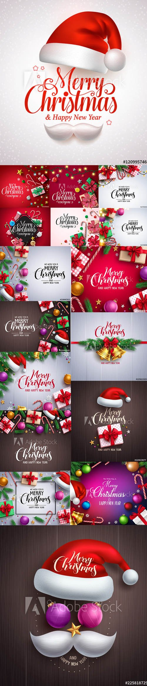 Merry Christmas and Happy New Year Backgrounds Template with Decor vol3