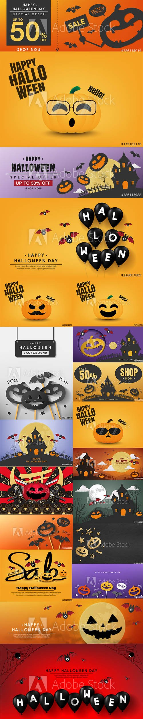 Happy Halloween Illustrations and Sale Poster