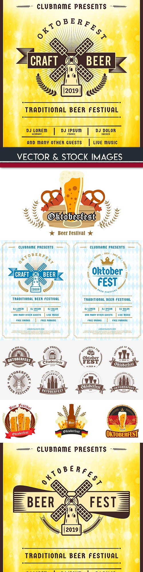 Oktoberfest festival beer labet vintage illustration 2