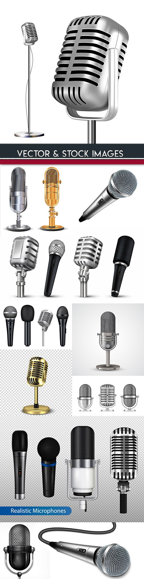 Music microphone collection 3d illustration