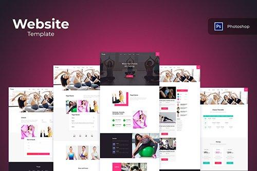 Yoga Website PSD, Adobe XD, Sketch