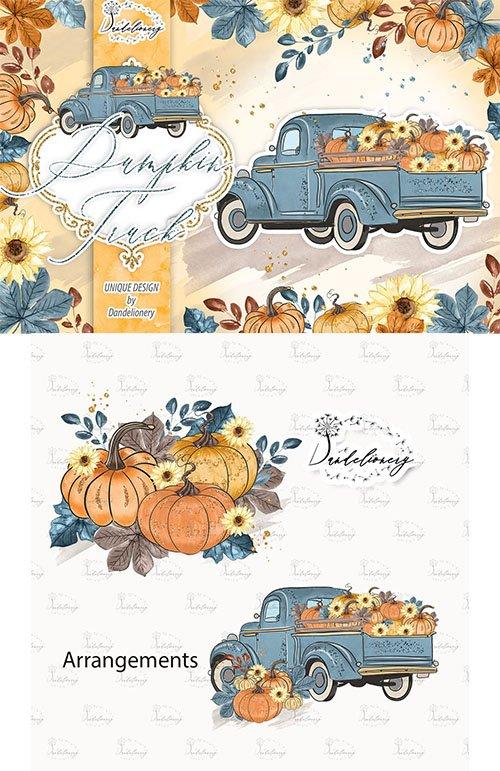 Pumpkin Truck Blue design PNG